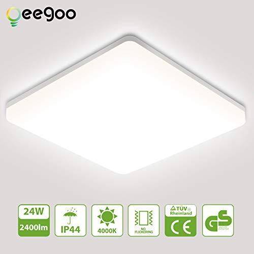 Oeegoo LED Deckenleuchte 24W, 2400Lm LED Deckenlampe Bad, IP44 LED Leuchte Als Schlafzimmerlampe, Wohnzimmerleuchte, Kinderzimmerlampe, Küchenlampe, Balkonlicht 4000K