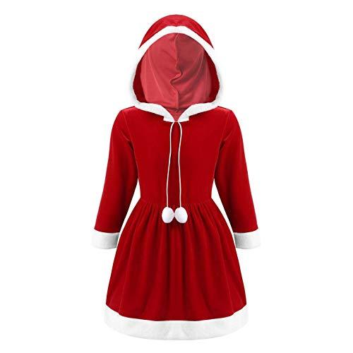 YiZYiF Bambina Costume di Natale Vestito Babbo Natale Ragazza Costume Carnevale Abitino da Festa con Cappuccio Abito Natalizio Vestito Principessa in Velluto 3-14 Anni Rosso 13-14 Anni