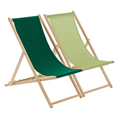 Harbour Housewares Transats Traditionnels - Ajustable - Plage/Jardin - Citron Vert/Vert