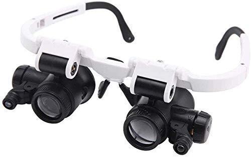 WY-YAN Portátil Taoke Iluminado 8X 23X Cabeza usando la reparación de Cristal de Alta definición La identificación con 2 Lámpara de Grabado reparación del Reloj Gafas Lupa