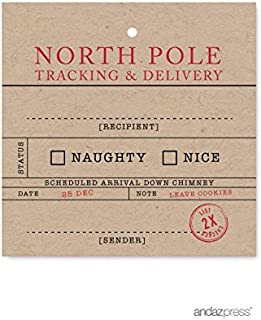 Andaz Press Christmas Collection, Square Gift Tags, North Pole Tracking, 24-Pack
