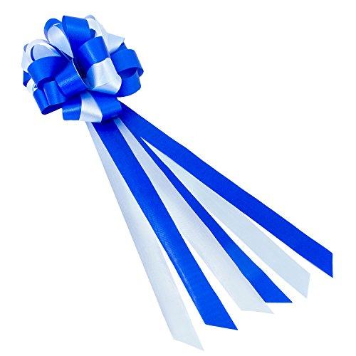 Oblique-Unique® Geschenk Schleife Groß mit Geschenkband Deko Band für Geschenke und Zuckertüten - wählbar (Blau Weiß)
