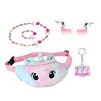 VALICLUD Unicorn Gifts for Girls Plush Waist Bag Beads Jewelry Set Party Glasses Quicksand Pendant