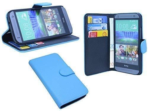 ENERGMiX Praktische Buch-Tasche kompatibel mit HTC ONE Mini 2 in Blau Wallet Book-Style