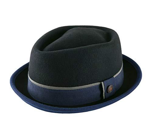 DASMARCA - Chapeau Porkpie Feutre - 6 Coloris - Homme Edward - Taille M - Noir-Marine