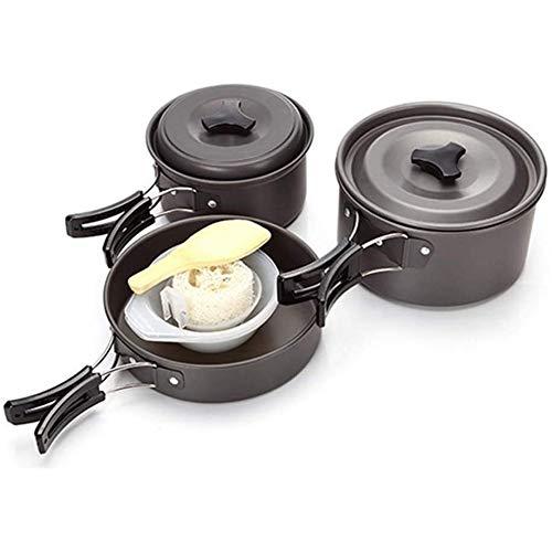 ZHANGXJ Ligero Fácil de Usar Kits de Cocina para Acampada 2-3 Personas Juego de Olla para Acampada Aire Libre Portátil Kit de Utensilios para Acampada, Senderismo, Pícnic Senderismo (Color : Black)