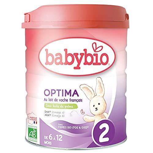 Babybio - Lait Infantile - Optima 2ème Âge avec Fibres - 800g - dès 6 Mois - BIO - Fabriqué en France - Sans Huile de Palme