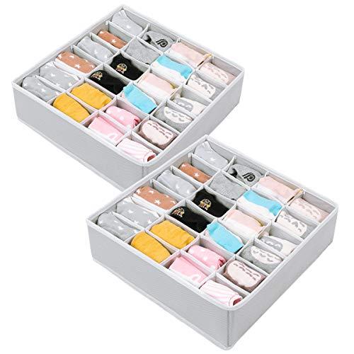 Organizadores de Cajones, 24 Celdas Plegable Cajas de Almacenamiento, Cajas Organizadoras para Calcetines, Bragas, Corbata, Pañuelos Accesorios (2 Paquetes,Gris)