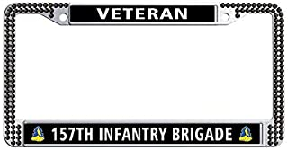 Toanovelty 157th Infantry Brigade Veteran Black Glitter Crystal Car License Plate Holder, Waterproof Glitter Crystal Stainless Steel Rhinestones License Plate Frame 6' x 12' in