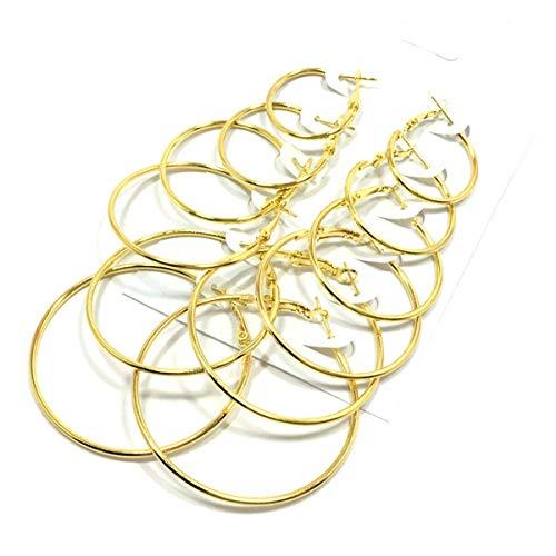 Nihlsfen 6 par/Set de Pendientes de aro de círculo Grande de Moda para Mujer, Pendientes de Fiesta para Mujer, joyería de Moda, Exquisito Clip de Oreja
