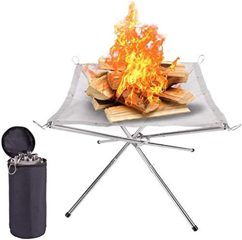 ZXL Tragbare Feuerstelle im Freien Ultraleichte, Faltbare Holzkohle/Brennholz-Brennständer/Feuerstelle/Lagerfeuer-Gitterplatte/Tragetasche,M