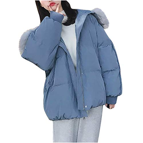 MA87 Damen Daunenmantel Warme Winterjacke mit Kapuze Kunstpelzkragen, Winter Packable Daunenjacke Leichte Puffer Outwear Winter Warm Weich Langer Mantel Kapuze Parka Outwear Jacke mit Lange Ärmel