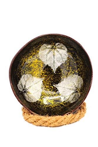 Meer Coco® Kokosnuss Schale, goldene Dekoschale, Ideal als Schmuck-, Schlüssel-, und Bowl Schüssel, Geschenk Set je 1 x Kokosnussschale + Schalen Halter - Blätter Design (Gold)