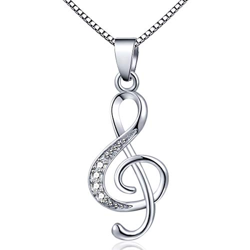 DXZNBEST Music Note Pendant Necklace 925 Sterling Sliver Cubic Zirconia for Women Girls Mother's Day Valentine's Day Christmas Jewelry Gift Chain 18 Inches