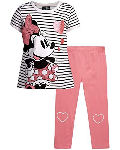 Disney Baby Girls' Playwear Set – T-Shirt and Leggings Babies Clothing Set (Newborn, Infant, Toddler), Size 18 Months, Pink/White/Black Minnie Stripe