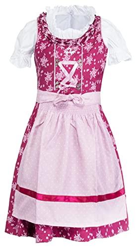 Brandsseller Mädchen Kinder Dirndl 3er Set Trachten Kleid - Schürze - Bluse Rosa Grösse 152/11-12 Jahre