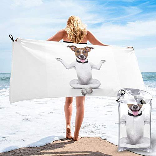 HNSENRUO Toalla de playa de secado rápido, toallas de baño ligeras de microfibra impresas para perros de yoga, superabsorbentes para niños y adultos de 27.5 x 55 pulgadas