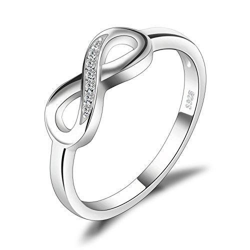 JewelryPalace Infinity Forever Love Knot Promise Ring for her, White Gold Plated 925 Sterling Silver Rings for Women, Anniversary CZ Simulated Diamond Ring, Girls Womens Jewellery Gifts