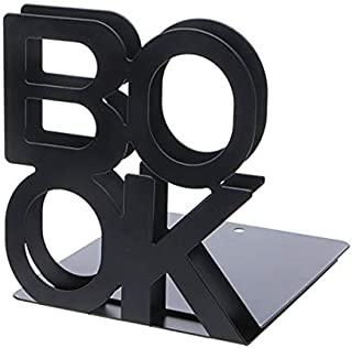 Yiherone Alphabet Wrought Iron Alloy Bookends Support Holder Desk Stands for Books(Black) New (Color : Black)
