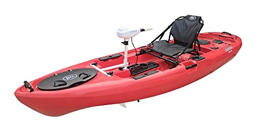 BKC PK11 Angler 10.5-Foot Sit On Top Solo Fishing Kayak w/Trolling Motor, Paddle, and Upright Aluminum Seat (Red)