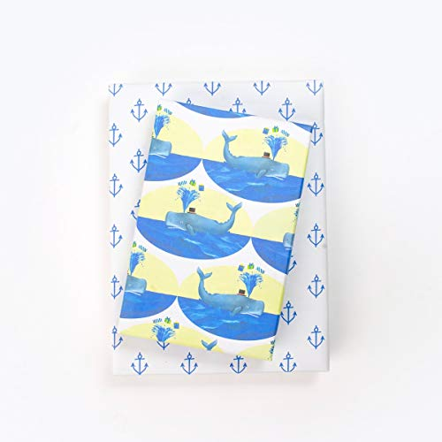 Whales & Anchors Nautical Birthday - Double-Sided Wrapping Paper - Eco Gift Wrap by Allport Editions x Wrappily