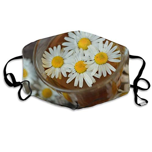 Houity stofdicht wasbaar masker, chrysanten doorweekt in thee, zacht, ademend, wasbaar, knop instelbaar masker, geschikt voor mannen en vrouwen maskers