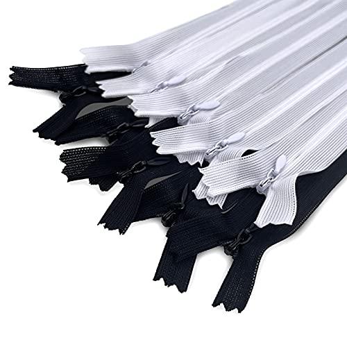 MARARDI Pack de 10 Cremalleras Invisibles [Blanco y Negro] de Nailon 50cm (20 Pulgadas) para Costura y Manualidades Perfecto para Confeccionar Ropa Bolsos Estuches