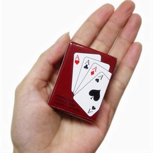 Knowooh Mini Juego de Cartas de póker de Naipes de Papel muñeca en Miniatura muñecas de Juguete Accesorios de decoración Juguetes Divertidos para niños, Rojo