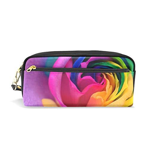 Mnsruu Trousse, Rainbow Rose Grande capacité Pen Sac Maquillage Outil Sac avec compartiments pour filles garçons