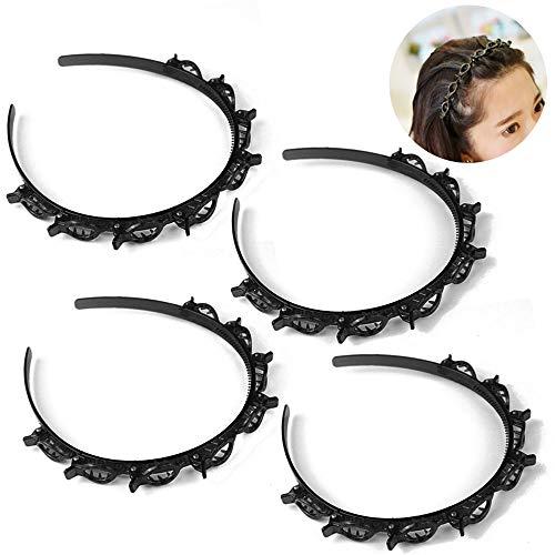 4 Stück Bangs Hairstyle Hairpin, Frisurenhilfe Haarreif mit Klammern, Haarnadeln Friseurbedarf, Stirnband Haarhalter Haarschmuck Haarband,Haarband mit Clips, Twist Clip Stirnband