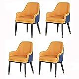 VEESYV Moderno juego de 4 sillas de comedor para sala de estar, respaldo alto, asiento suave, silla de recepción, a prueba de agua, sillón de cuero con patas de metal (color: naranja azul)