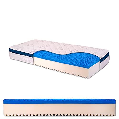 Materasso singolo memory gel 6 cm, alto 25 cm con bayscent neutralizer, Antimuffa, Ortopedico, 100% Made in Italy - Dolce Sonno 90 x 200 cm (singolo) - Presidio Medico Sanitario n.1392037/R