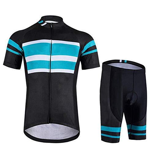 Jnsio Ciclismo Conjunto de Ropa Maillot Ciclismo y Culotte Pantalones Cortos con Banda elástica 3 Bolsillos Traseros,S