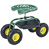 SUNCOO Garden Rolling Seat Scooter Tray Wagon for Gardening, Weeding and Lawn Care, Heavy-Duty with 10'' Wheel Green