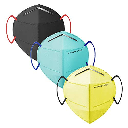Nasher Miles N95 (Pack of 3)Color Face Mask, Reusable and Washable ,Anti-Pollution, Anti-Dust, Anti-Bacterial, SITRA/CE/ISO Approved, 5 Layered N95 Mask
