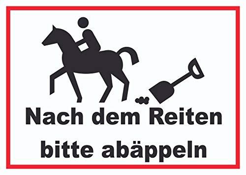 HB-Druck Bitte abäppeln Schild Pferde, Reitplatz A5 Rückseite selbstklebend