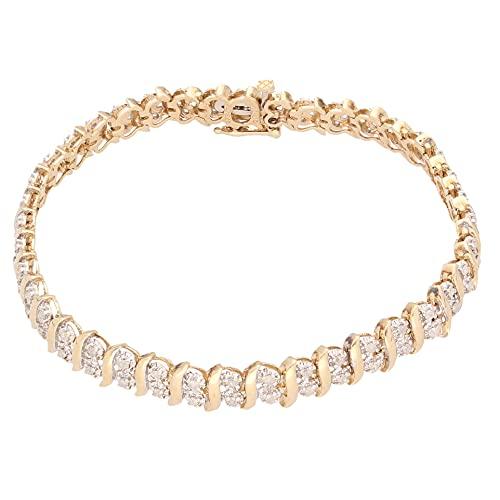 Jollys Jewellers Pulsera de tenis de oro amarillo de 9 quilates para mujer, 18,4 cm, 1,00 quilates, 6 mm de ancho