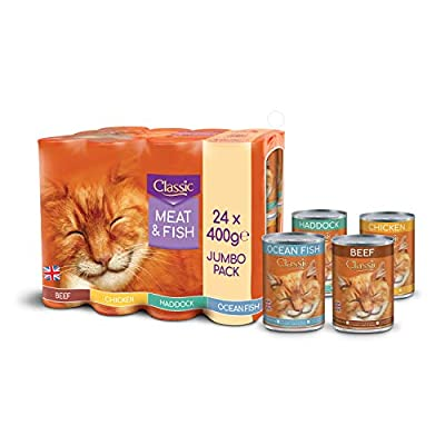 BUTCHER'S Classic Wet Cat Food Variety Tin Fish and Meat in Jelly (24 x 400g)