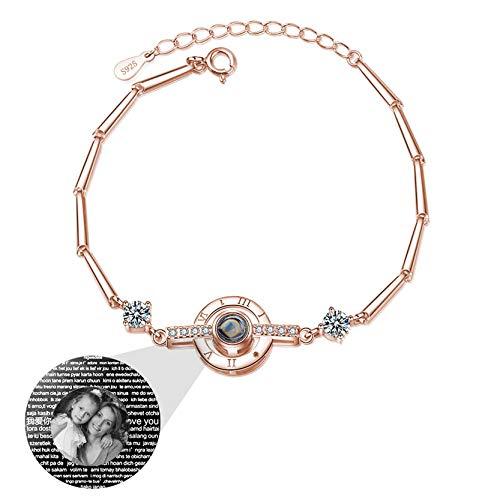 Love Memory Photo Bracelet Personalized Projection Bracelet 100 Different Languages Bracelet Custom Bangle Promise Bracelet(Rose Gold Black and White)