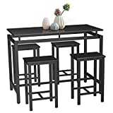 SSLine 5 Piece Breakfast Table and Chair Set, Contemporary Dining Table Set with Four Stools, High Bar Table and Chair Set for Home Kitchen Breakfast Table, Black