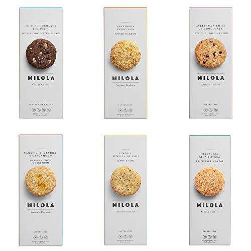 MILOLA Galletas Gluten Free. Pack 6 Cajas con todos nuestros sabores - Sin Gluten, Sin Lácteos, Sin Gluten, Sin Aceite de Palma (I WANT IT ALL!)