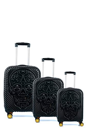 CCS Skull 8 Wheels Suitcase Travel Luggage Bag Trolley Carry On Hard Shell Lightweight (3pcs, Black)