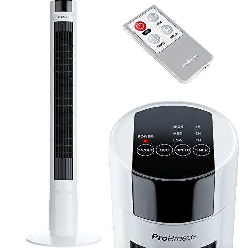 Pro Breeze Ventilatore a Torre Oscillante - 45W Con Timer e Telecomando - Oscillazione a 80° Gradi e 3 Velocità - Altezza 100 cm