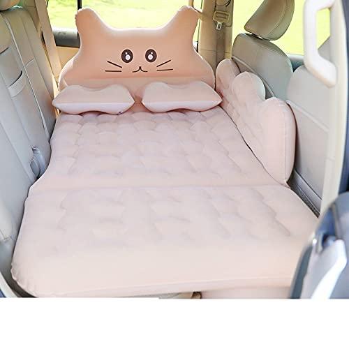 Materassino gonfiabile per auto, simpatico gatto a forma di testa e fianchetto protettivo, lettino da campeggio portatile con pompa ad aria, sgabello e cuscino (verde)