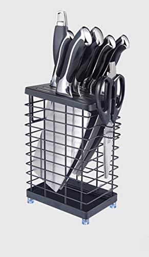 EWSDF Portacuchillos para encimera de Cocina Bloque de Cuchillos Universal de Acero Inoxidable, Porta Utensilios de Cocina y Portaherramientas 7 Hoyos Negro