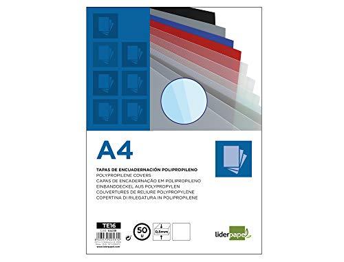 Liderpapel TE16 - Pack de 50 tapas de encuadernación, color transparente, A4, 0.8 mm