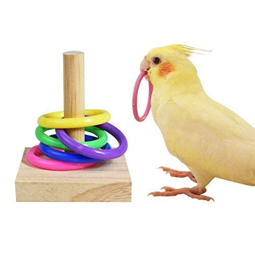 Anillo De Juguete Educativo para Pájaros Loros, Juego De Juguetes para Loros, Juguetes Educativos para Pájaros De Madera, Pequeños Y Medianos, Juguetes De Entrenamiento para Loros,A