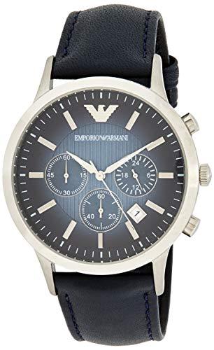 Emporio Armani Herren Chronograph Quarz Uhr mit Leder Armband AR2473