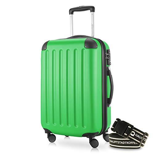 Hauptstadtkoffer - Spree Handgepäck Kabinentrolley Bordgepäck Hartschalen-Koffer, sehr leicht, TSA, 55 cm, 42L, Apfelgrün +Gepäckgurt