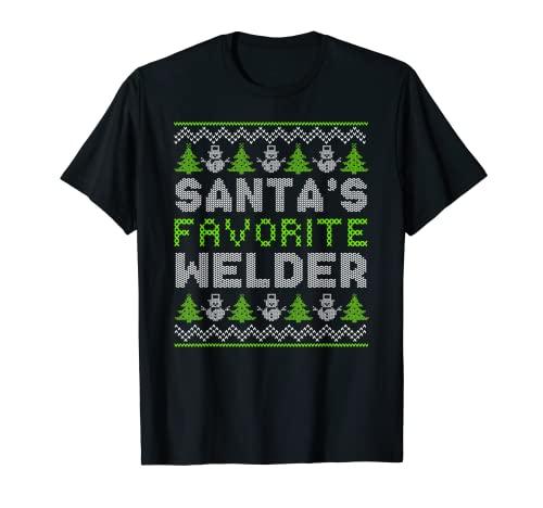 Hombre Santa Favorite Soldador X-Mas Holiday Feo Navidad Camiseta